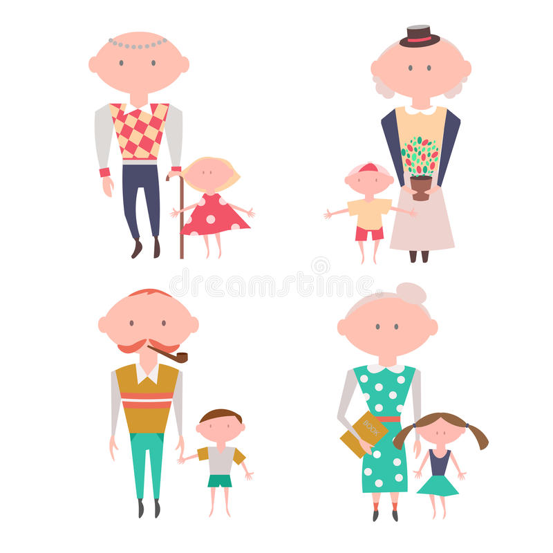 Grandparents with Kids. Vector Set. Eps10 stock illustration