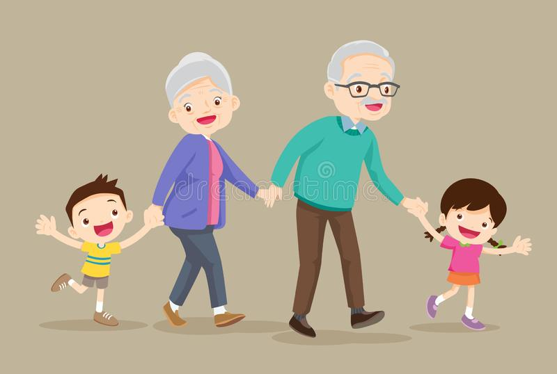 Grandparents with kids are walker. Grandparents and grandchildren. Happy grandparents with their grandchildren taking a walk.grandparents with kids are walker vector illustration