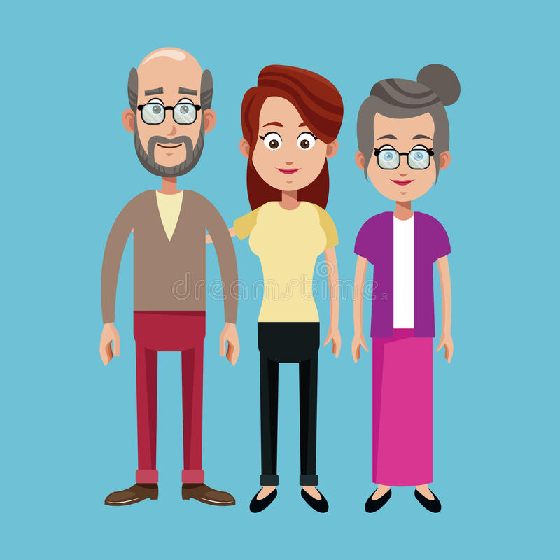 Grandparents and mother family image. Illustration eps 10 royalty free illustration