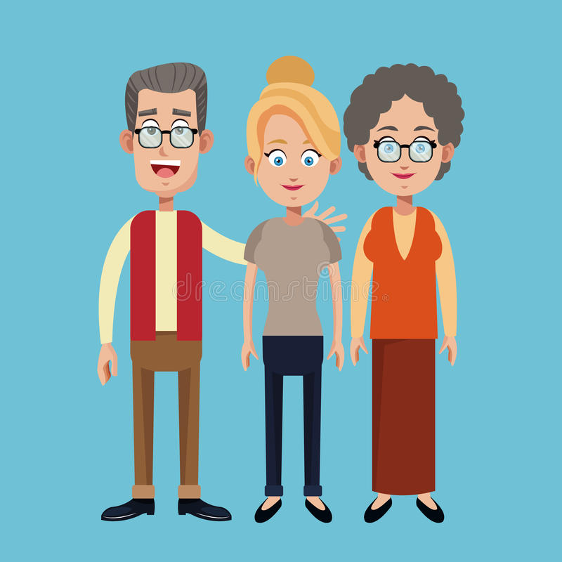 Grandparents and mother family image. Illustration eps 10 vector illustration