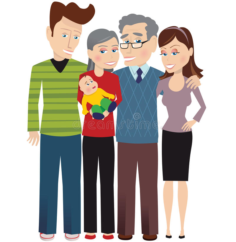 Grandparents and new baby. A young couple, the grandparents and the new baby. E.P.S. 10 vector file included with image, isolated on white stock illustration