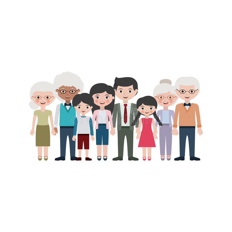 Grandparents parents and kids cartoons design. Grandparents parents and kids cartoons icon. Family relationship avatar and generation theme. Isolated design royalty free illustration