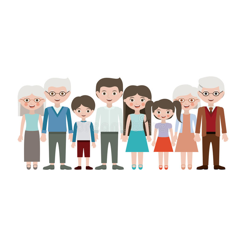 Grandparents parents and kids cartoons design. Grandparents parents and kids cartoons icon. Family relationship avatar and generation theme. Isolated design vector illustration