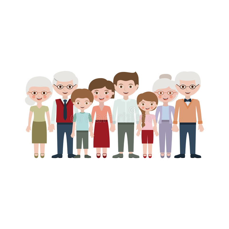 Grandparents parents and kids cartoons design. Grandparents parents and kids cartoons icon. Family relationship avatar and generation theme. Isolated design stock illustration