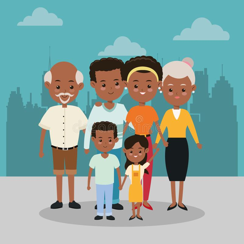 Grandparents, parents and kids icon. Family design. City Landsca royalty free illustration