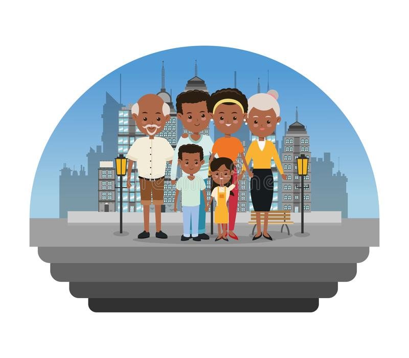 Grandparents, parents and kids icon. Family design. City Landsca stock illustration