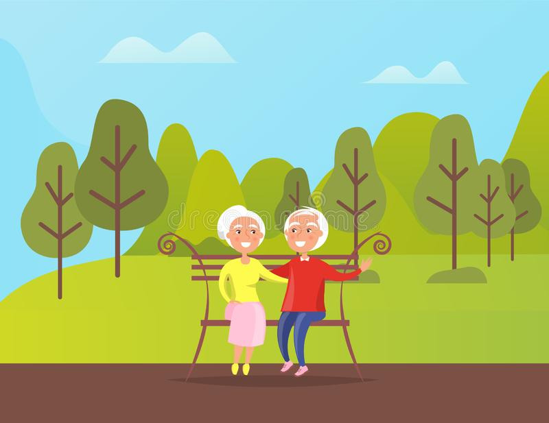 Grandparents People Sitting on Bench in Green Park. Grandparents sitting on bench in green park. Mature people spend time together outdoors, sitting on wooden vector illustration