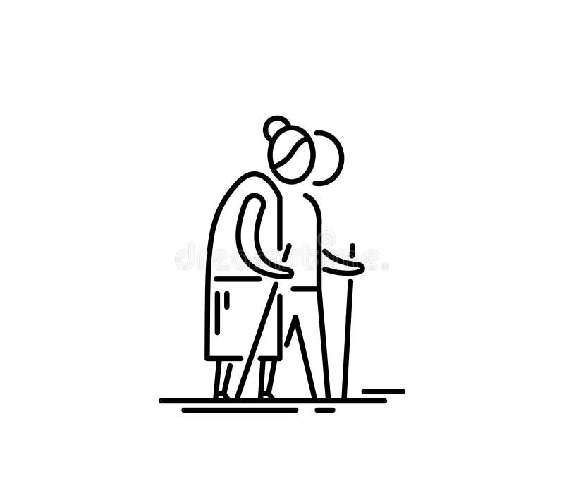 grandparents Pessoas adultas dos pares com ilustração do vetor do bastão ilustração royalty free