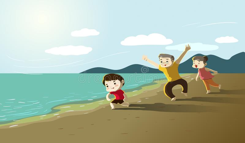 Grandparents with boy on the beach royalty free illustration