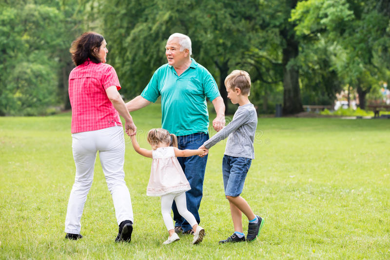 Grandparents Playing With Their Grandchildren royalty free stock photo