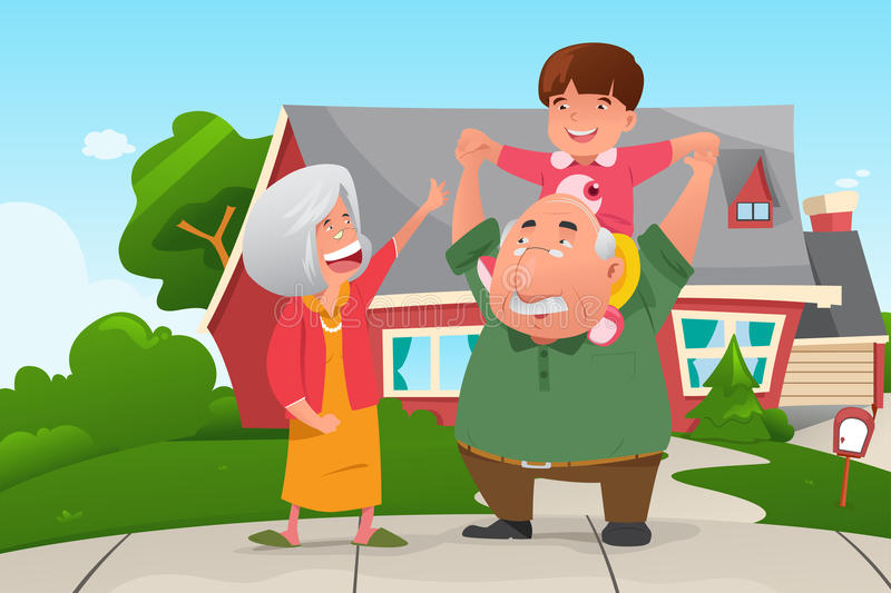 Grandparents Playing with their Grandson. A vector illustration of happy grandparents playing with their grandson stock illustration