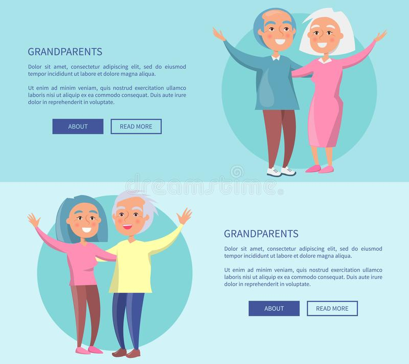 Grandparents Posters Senior Couples Waving Hands. Grandparents posters with senior couples waving hands vector illustrations . Happy granny and grandpa cartoon stock illustration