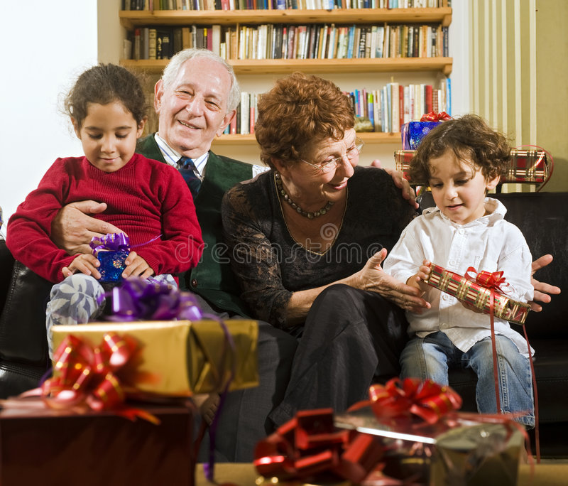 Grandparents and presents stock photo