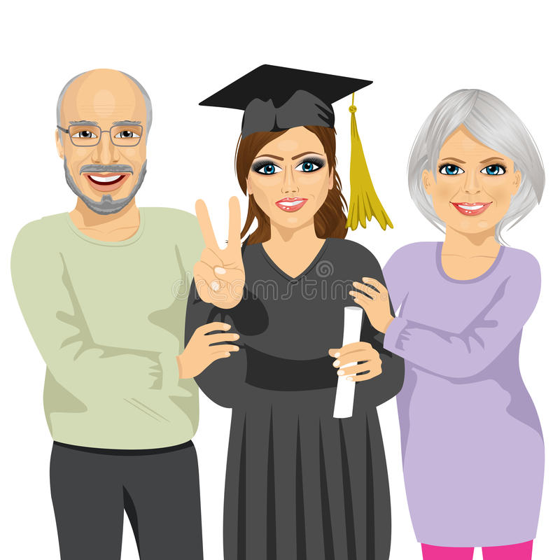 Grandparents proud and happy of granddaughter holding diploma on graduation ceremony day. Grandparents proud and happy of granddaughter holding diploma and stock illustration