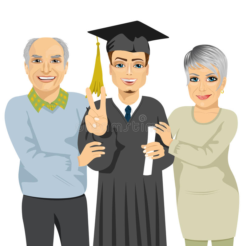 Grandparents proud and happy of grandson holding diploma on graduation ceremony day. Grandparents proud and happy of grandson holding diploma and showing a royalty free illustration