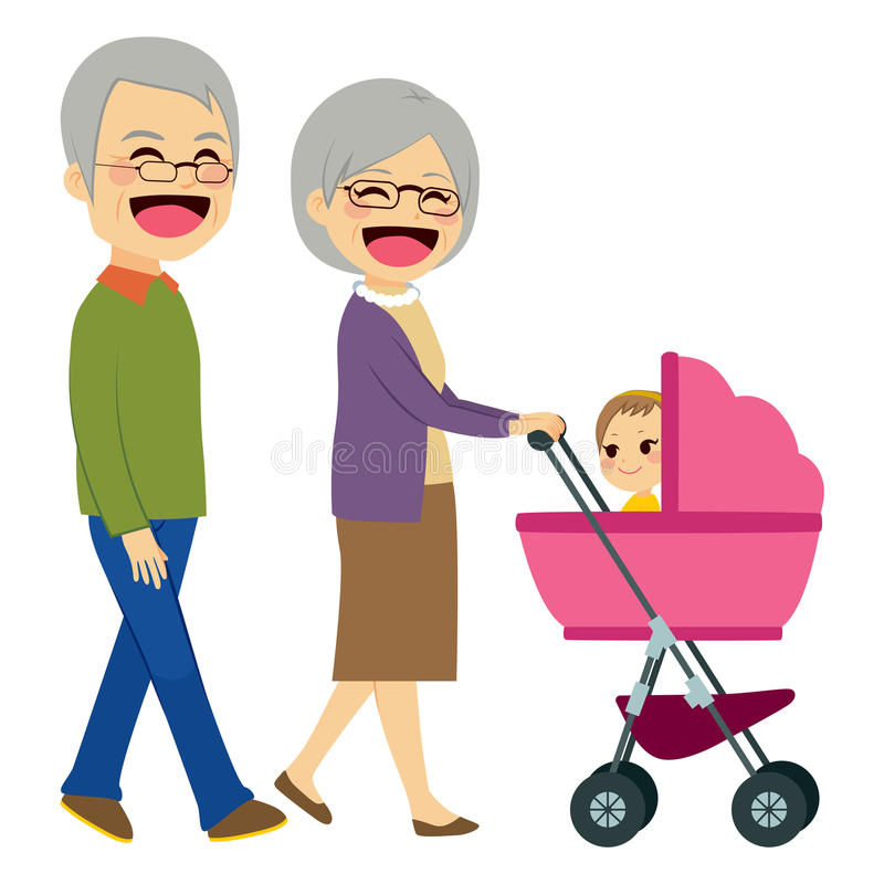 Grandparents Pushing Stroller. Cute happy grandparents pushing stroller with newborn baby royalty free illustration