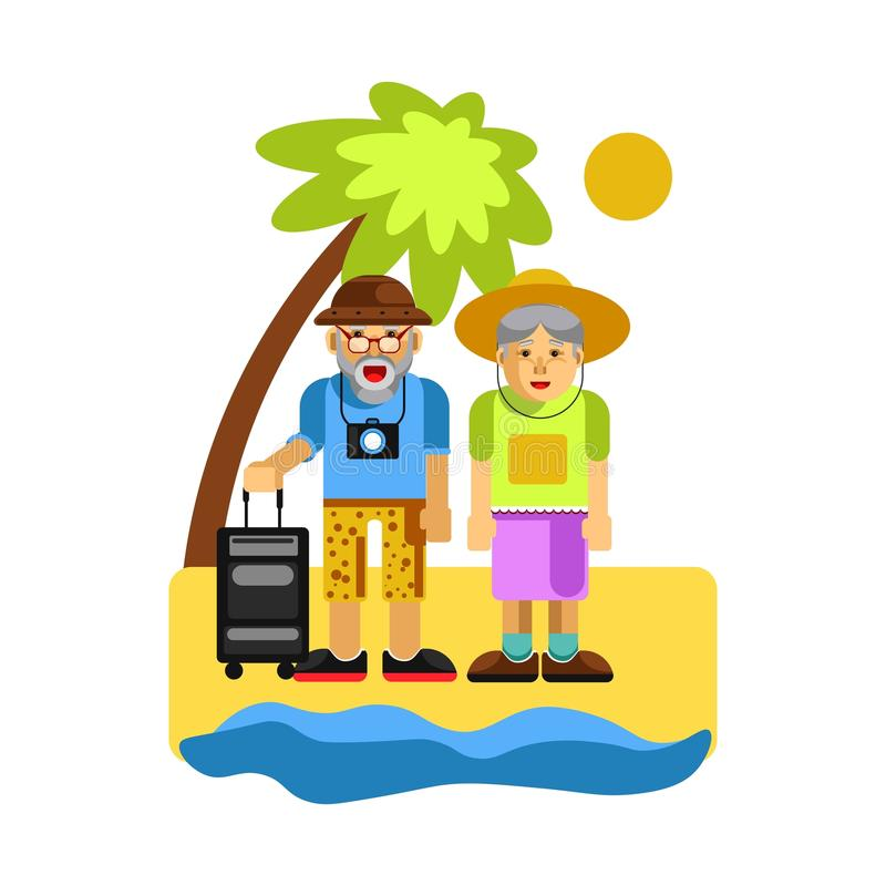 Grandparents on rest near seaside. Happy middle aged couple royalty free illustration