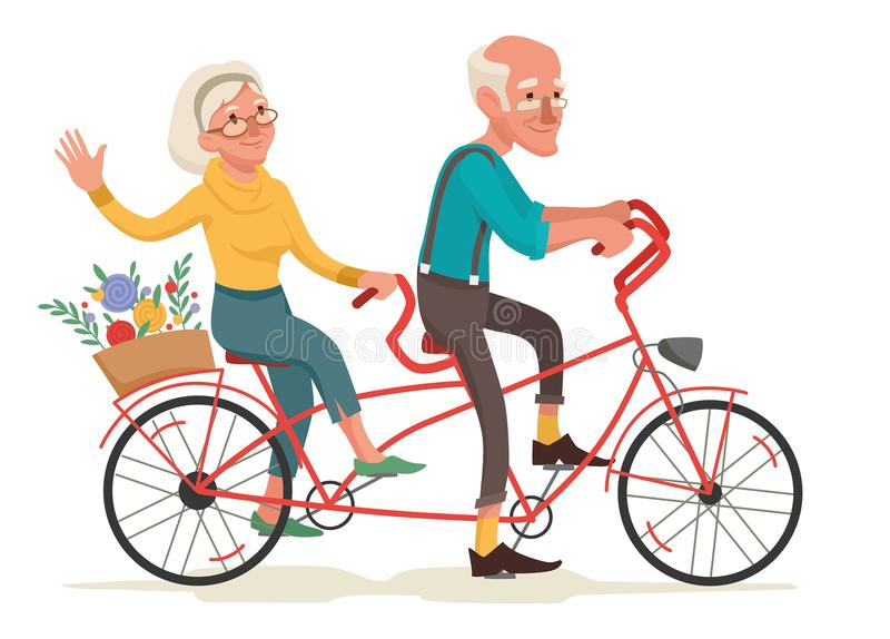 Grandparents are riding a bike. Vector illustration royalty free illustration