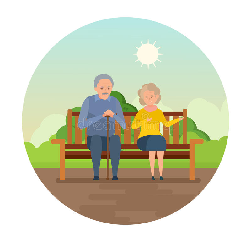 Grandparents are sitting on bench in park, smiling and speaking. Elderly lovely couple outdoors and healthy lifestyle. Grandparents are sitting on a bench in vector illustration