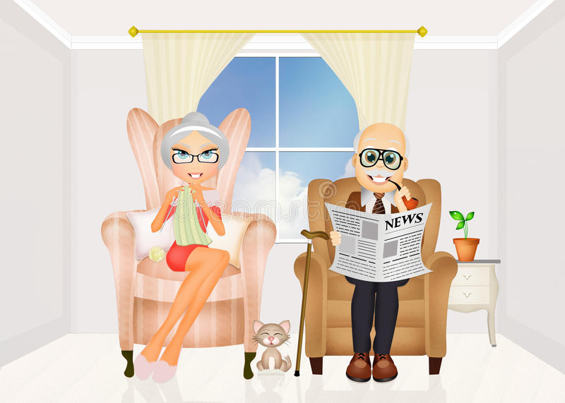 Grandparents sitting in the chair at home. Illustration of grandparents sitting in the chair at home stock illustration