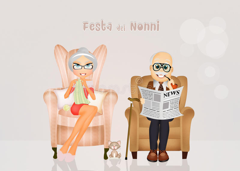 Grandparents sitting in the chair at home. Illustration of grandparents sitting in the chair at home royalty free illustration