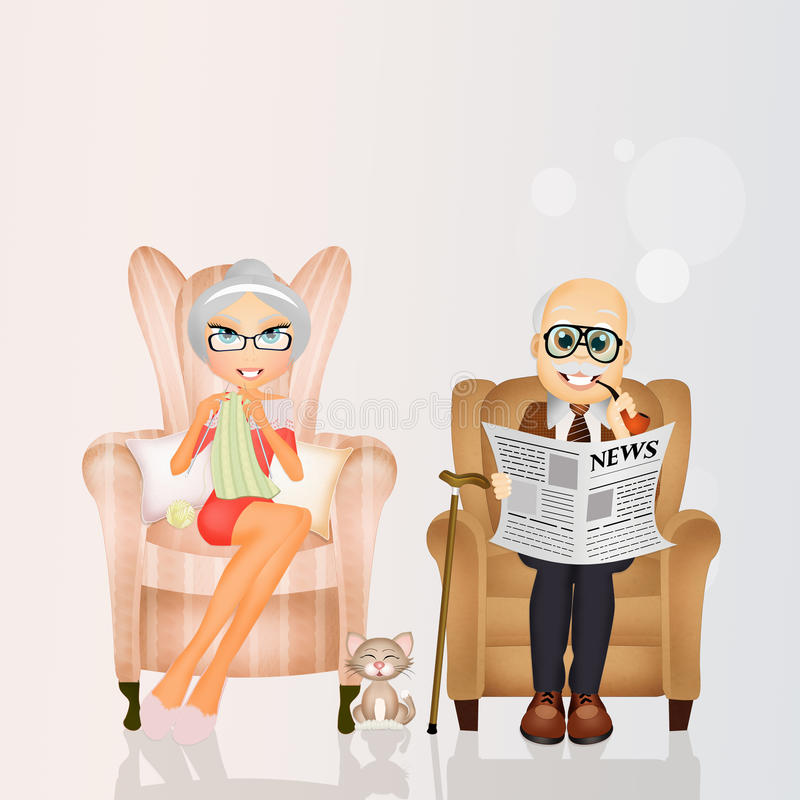 Grandparents sitting in the chair. Illustration of grandparents sitting in the chair vector illustration