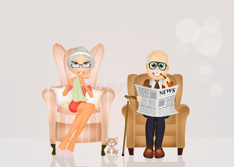Grandparents sitting in the chair. Illustration of grandparents sitting in the chair royalty free illustration