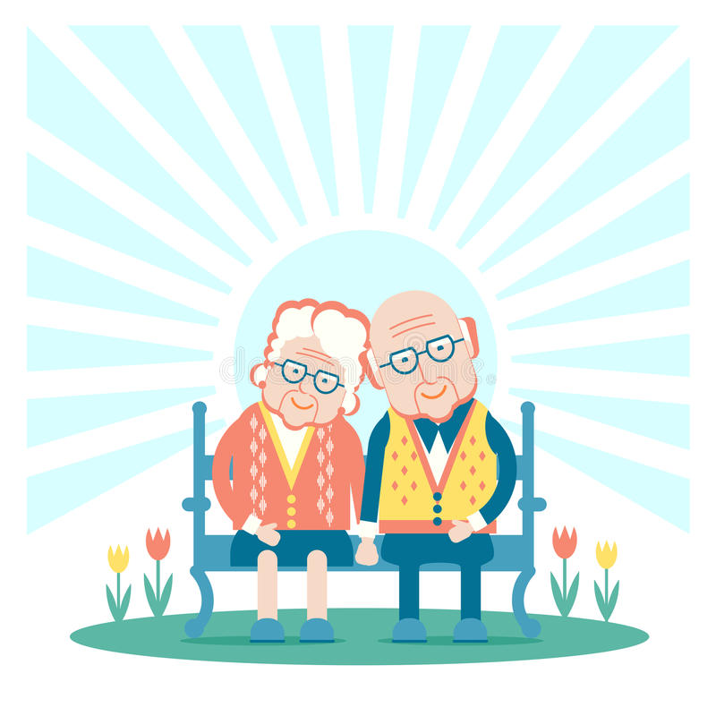 Grandparents are sitting outdoor royalty free illustration