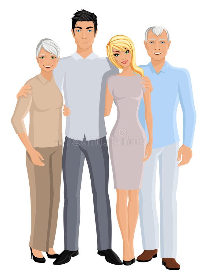 Grandparents son and daughter. Old senior people family grandparents couple with adult son and daughter full length portrait vector illustration royalty free illustration