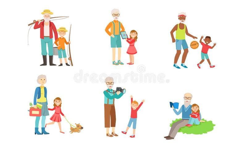 Grandparents Spending Time with Grandchildren Set, Grandfather and Grandmother Playing, Walking, Reading Books, Doing. Sports with their Grandsons and stock illustration