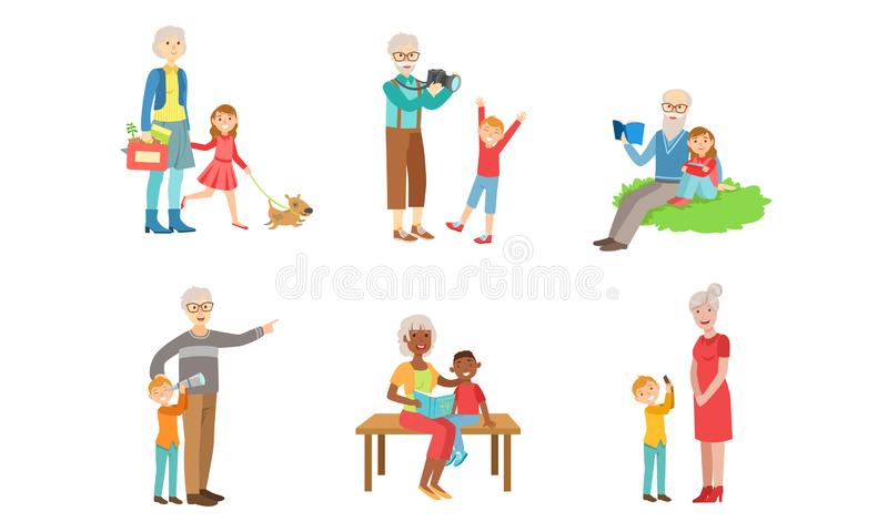 Grandparents Spending Time with Grandchildren Set, Grandfather and Grandmother Playing, Walking, Reading Books with. Their Grandsons and Granddaughters Vector stock illustration
