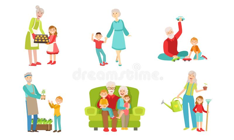 Grandparents Spending Time with Grandchildren Set, Grandfather and Grandmother Playing, Walking, Working in the Garden. With their Grandsons and Granddaughters royalty free illustration