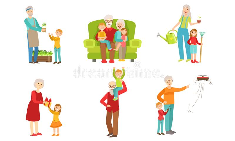 Grandparents Spending Time with Grandchildren Set, Grandfather and Grandmother Playing, Working in the Garden,Having Fun. With their Grandsons and royalty free illustration