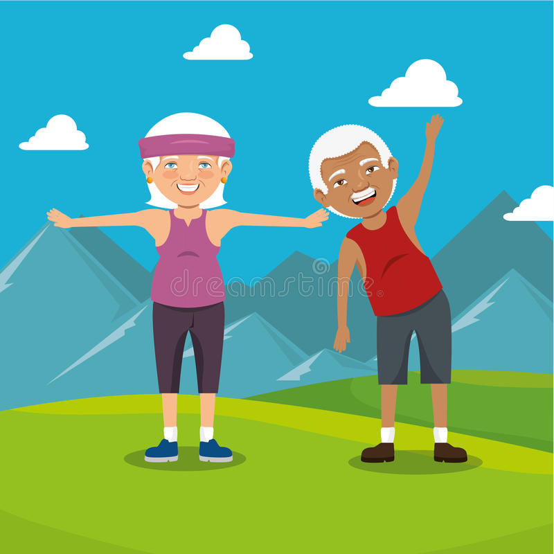 Grandparents with sport clothes. Illustration design vector illustration