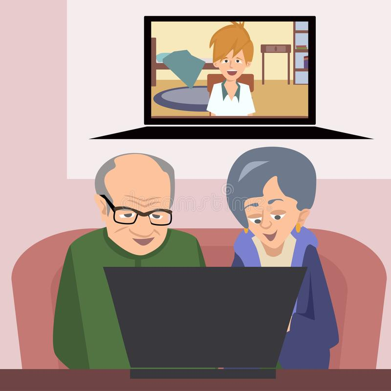 Grandparents talking to family with computer vector illustration. Grandparents talking to grandson with computer - funny vector illustration of modern technology stock illustration