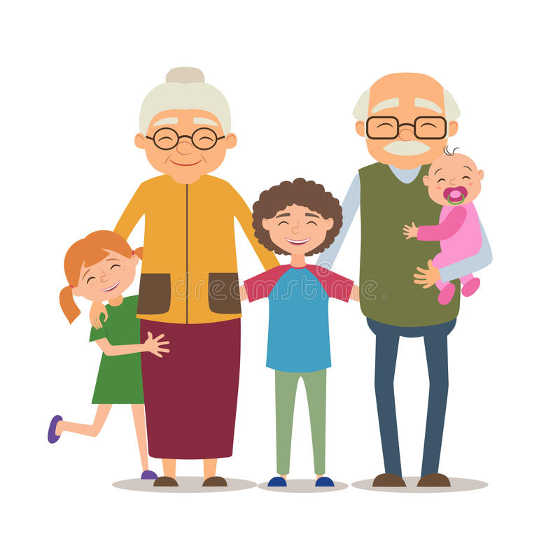 Grandparents with their grandchildren. Vector illustration in cartoon style stock illustration