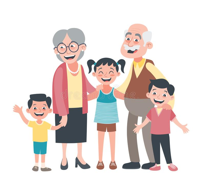 Grandparents and three grandchildren portrait. Grandparents day concept. Vector illustration in cartoon style, isolated on white background stock illustration