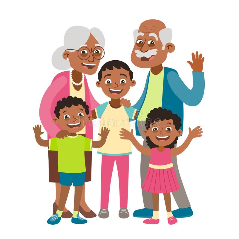 Grandparents and three grandchildren portrait stock illustration