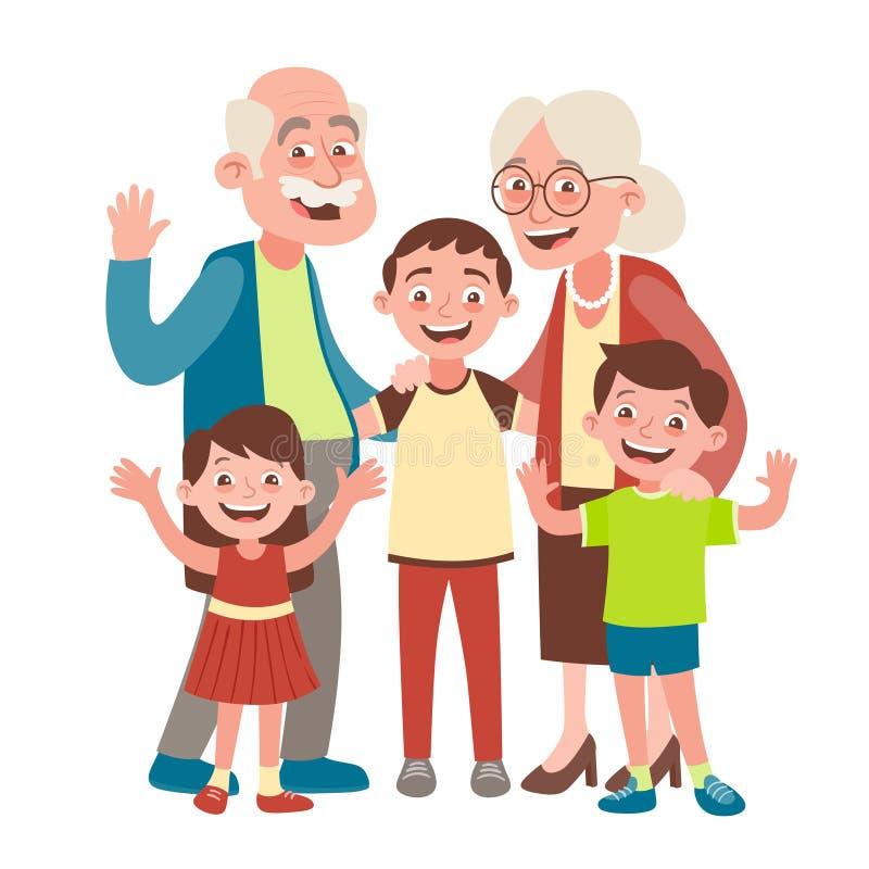 Grandparents and three grandchildren portrait vector illustration