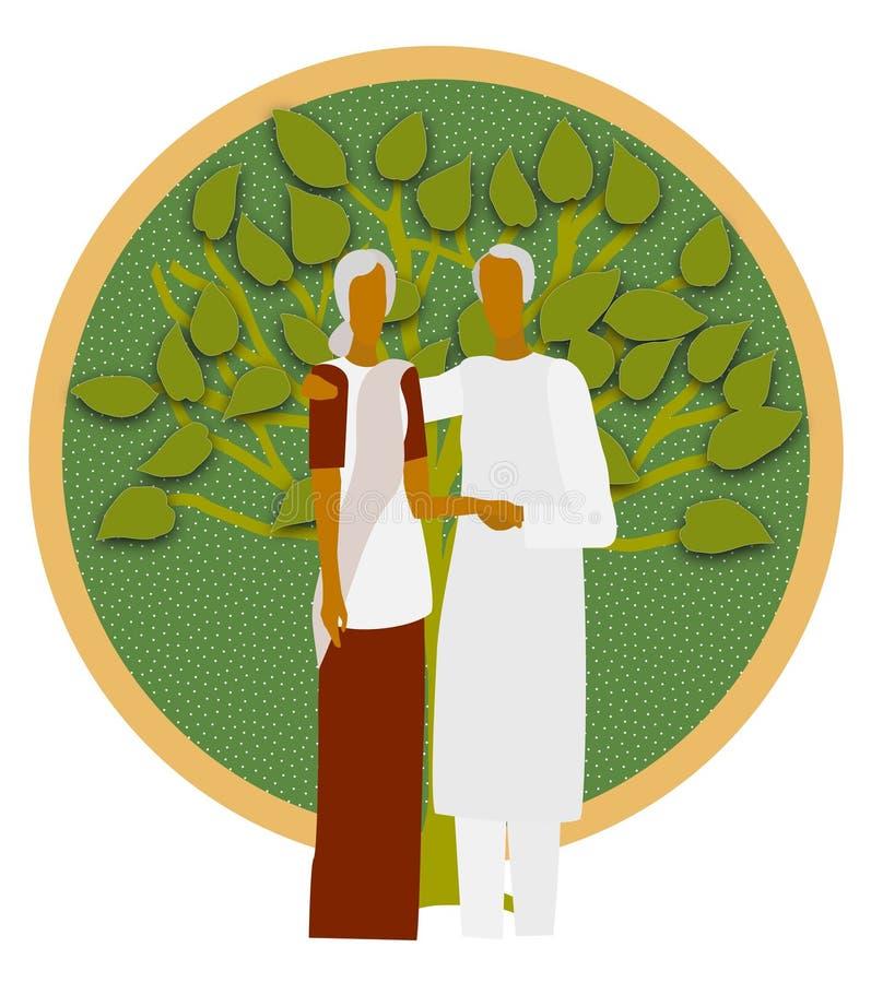 Grandparents-Um que nutrem a árvore, uma máscara de consolação ilustração do vetor