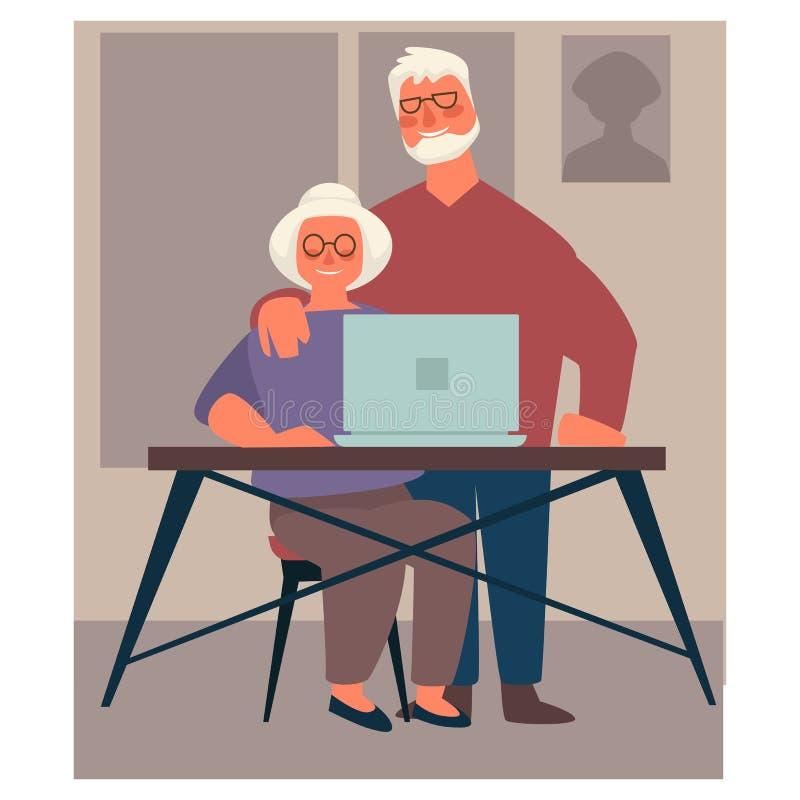 Grandparents using laptop, elderly couple surfing Internet. Elderly man and woman sitting at table and using laptop, grandparents and modern technologies vector vector illustration