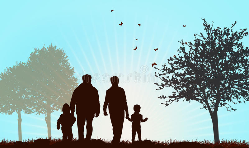 Grandparents walking with children. Outdoors stock illustration