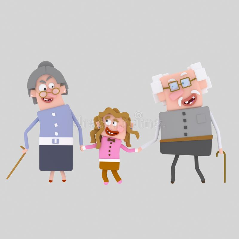 Grandparents walking with their granddaughter 3D royalty free illustration