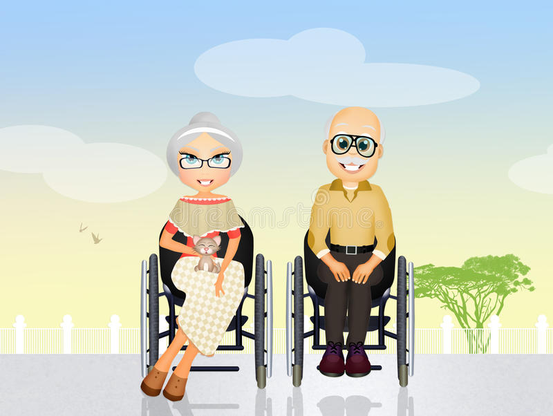 Grandparents in a wheelchair. Illustration of grandparents in a wheelchair stock illustration