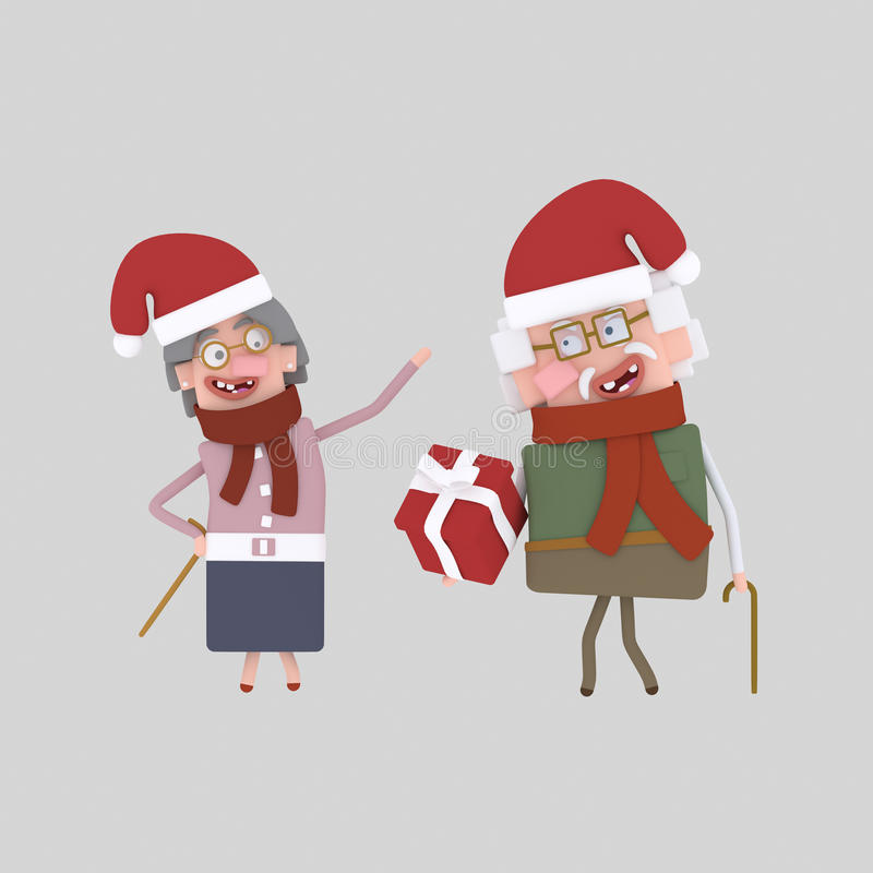 Grandparents with xmas gift. 3D royalty free illustration