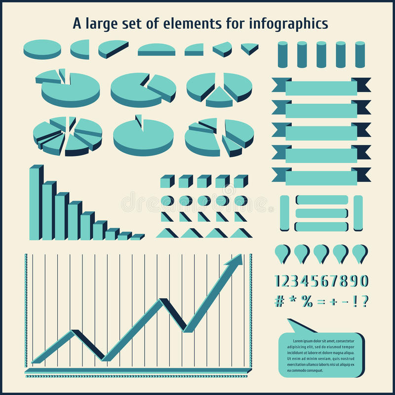 Grands éléments d'ensemble pour l'infographics Diagrammes, diagrammes pour les statistiques et recherche Ensemble d'affaires illustration stock
