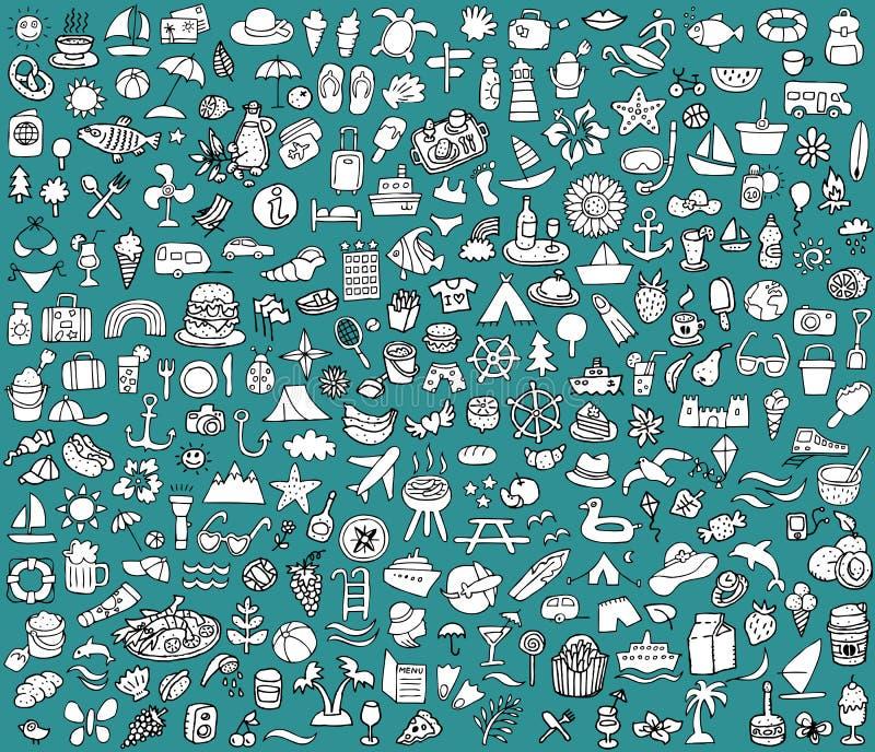 Grands été et collection gribouillés d'icônes de vacances illustration libre de droits