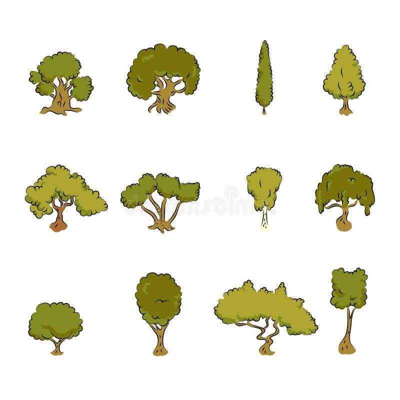 Grands arbres conçus illustration de vecteur