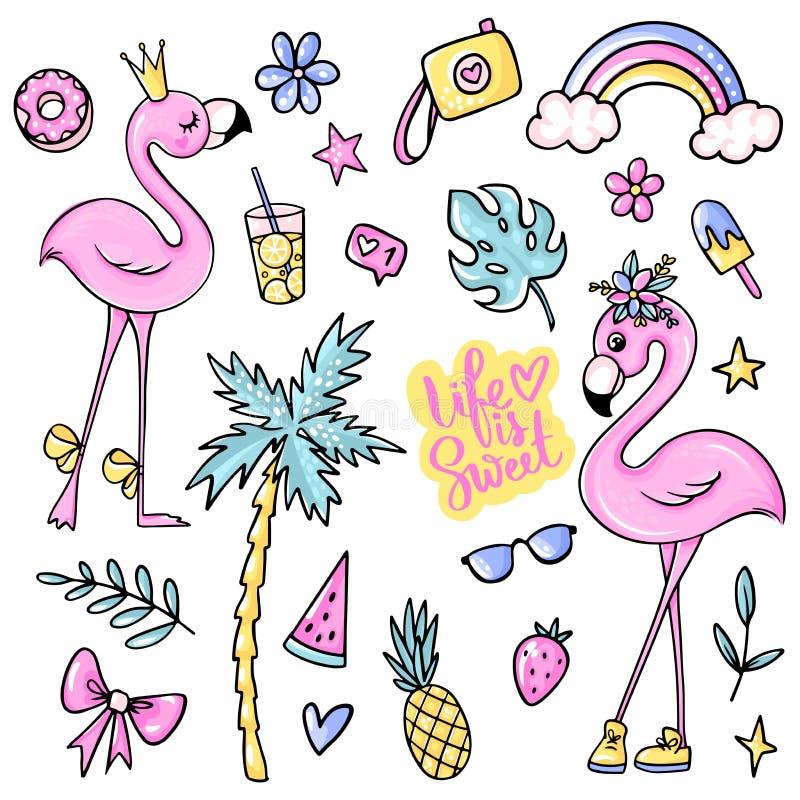 Grands autocollants mignons d'été réglés avec des flamants, crème glacée, pastèque, ananas, arc-en-ciel, limonade, cerise illustration libre de droits