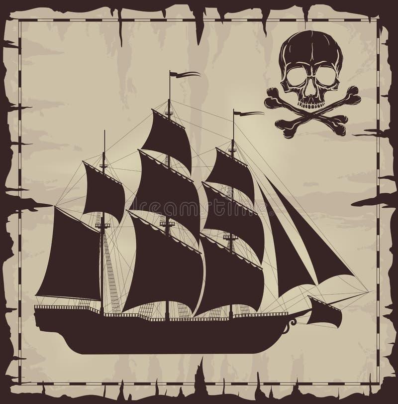 Grands bateau et crâne au-dessus de vieux papier illustration stock